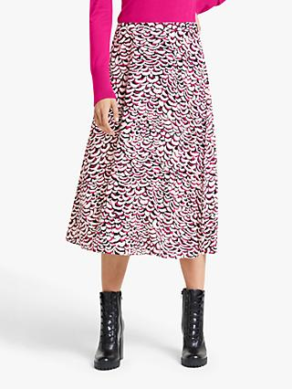 Somerset by Alice Temperley Feather Print Skirt, Pink