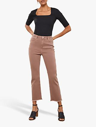Mint Velvet Nevada Latte Cropped Jeans, Brown