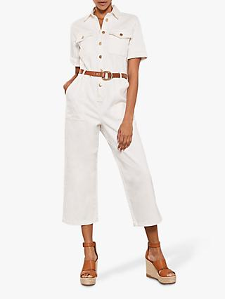 Mint Velvet Denim Boiler Suit, Ivory