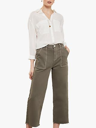 Mint Velvet Madison Wide-Leg Jeans, Dark Green