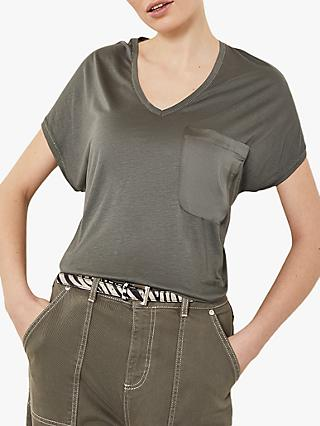 Mint Velvet Utility Pocket Tee, Dark Green