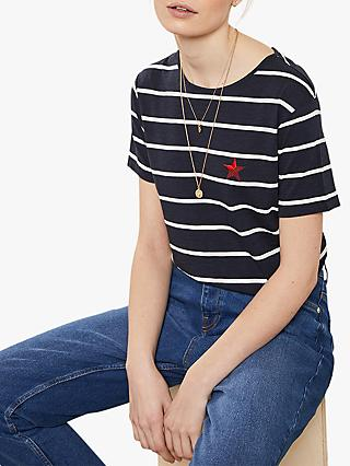 Mint Velvet Stripe Bow Back T-Shirt, Navy