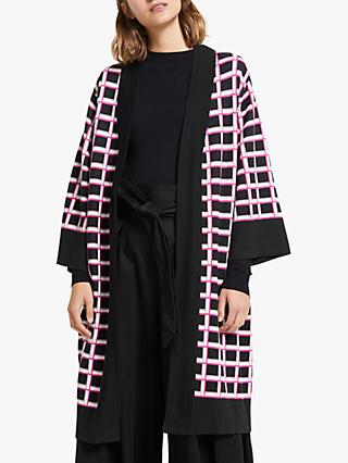 Somerset by Alice Temperley Intarsia Cardigan, Black/Pink