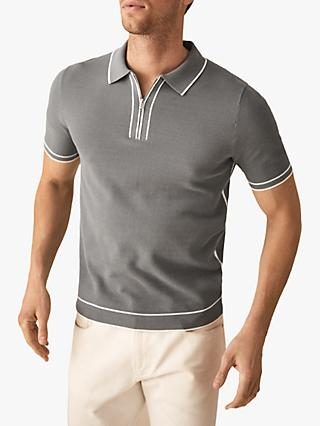 9caa79737ff056 Reiss Lyle Tipped Zip Neck Polo Shirt