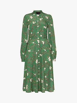 Phase Eight Christina Floral Flared Dress, Jade