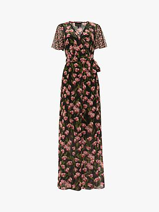 Phase Eight Valentina Floral Wrap Neck Maxi Dress, Black/Multi