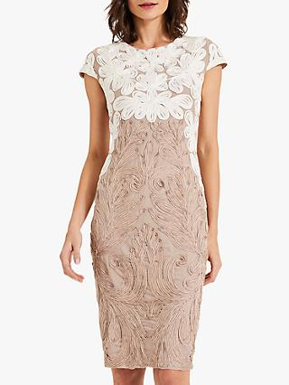 Phase Eight Catheleen Tapework Lace Dress, Latte/Ivory