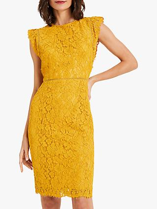 Phase Eight Primrose Lace Dress, Mustard
