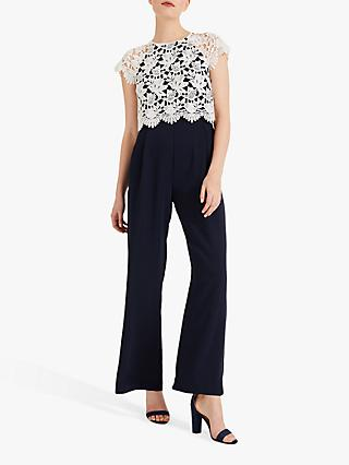 Phase Eight Katy Lace Jumpsuit, Navy