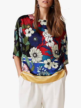 Phase Eight Margot Floral Blouse, Ivory/Multi