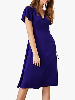 Phase Eight Sasha Satin Dress, Cobalt