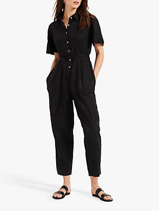Phase Eight Lilian Linen Jumpsuit, Black