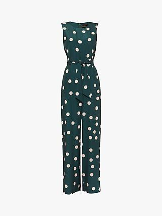 Phase Eight Adelina Spot Print Wide Leg Jumpsuit, Forest