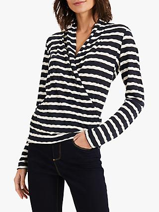 Phase Eight Brandy Stripe Top, Navy/Ivory