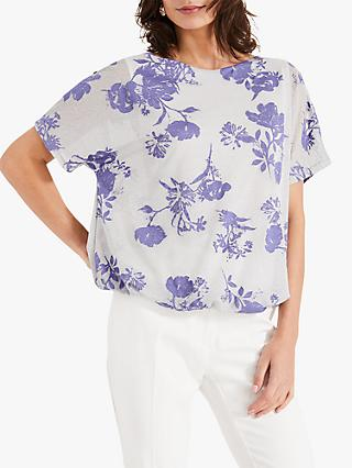 Phase Eight Toile De Jouy Sparkle Top, Silver/Blue