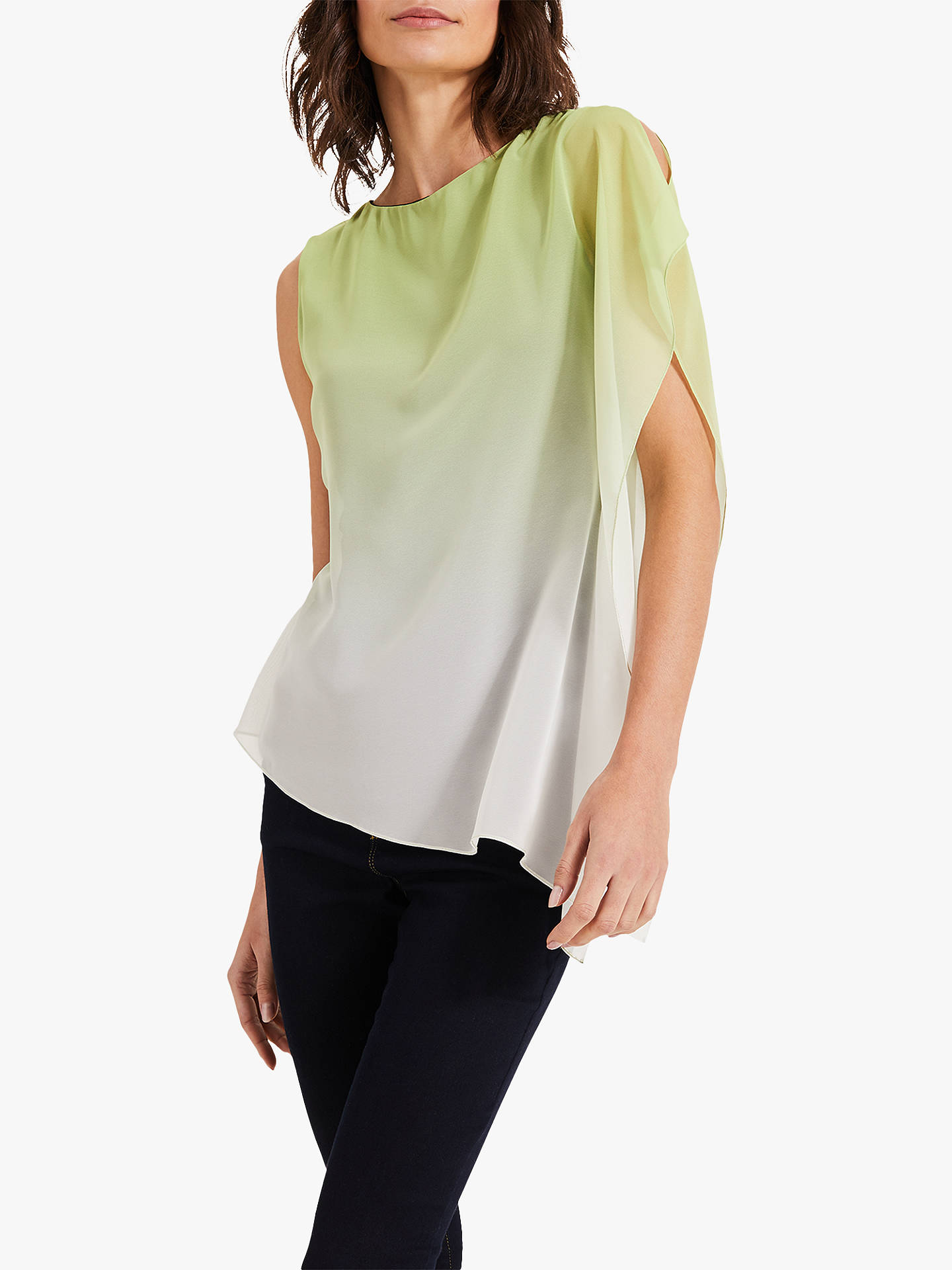 6a272119 Buy Phase Eight Camille Ombre Chiffon Top, Lime, 8 Online at johnlewis.com  ...