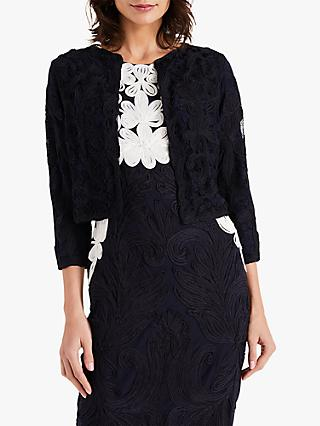 Phase Eight Catheleen Tapework Lace Jacket, Navy