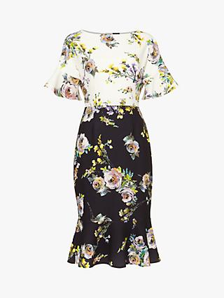 Phase Eight Anita Floral Print Fluted Hem Dress, Multi