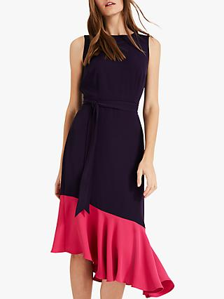 Phase Eight Rosina Contrast Dress, Lapis/Hot Pink