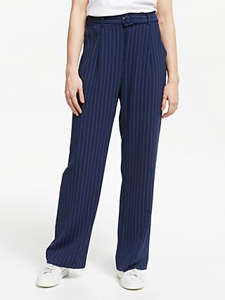 Gestuz Kine Stripe Straight Fit Trousers, Navy