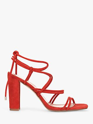 Mint Velvet Tia Suede Strappy Heeled Sandals, Red
