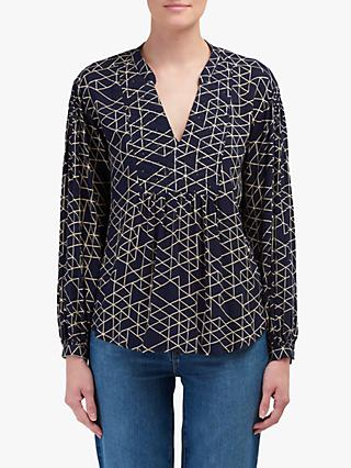 Velvet by Graham & Spencer Vivian Quilted Blouse, Navy