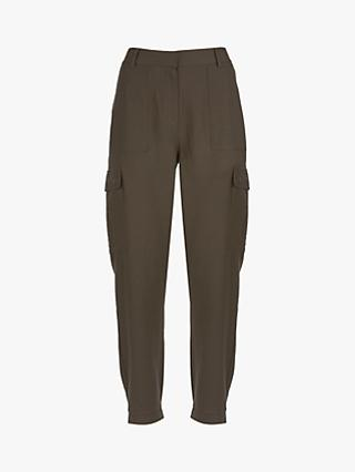 Mint Velvet Utility Trousers, Dark Green