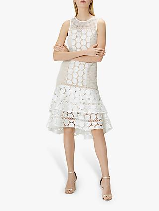 Coast Eve Geometric Lace Ruffle Hem Dress, Ivory