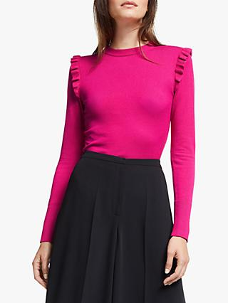 Somerset by Alice Temperley Frill Sleeve Knit Top, Dark Pink