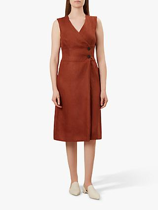 Hobbs Christina Linen Dress, Burnt Orange