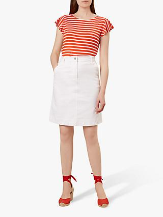 Hobbs Bronte Denim Skirt, White