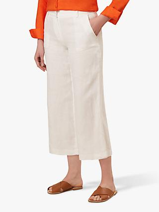 Hobbs Nicole Cropped Linen Trousers, White