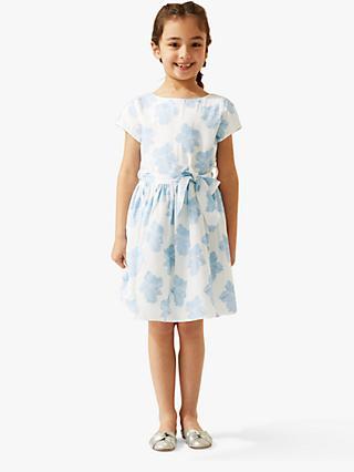 f0dadb2790d1 Jigsaw Girls' Jacquard Floral Occasion Dress, White/Blue