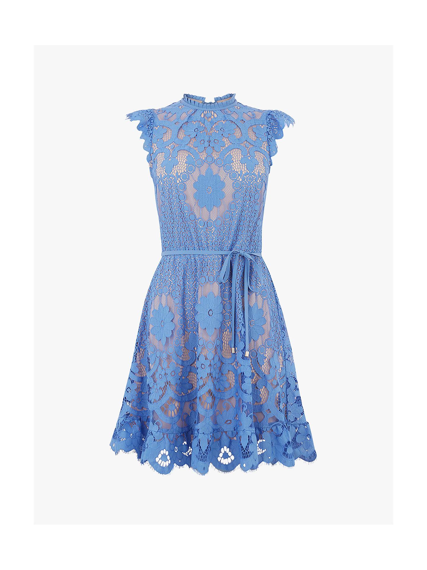 374104f720c6 Buy Oasis Lace Skater Dress, Mid Blue, 8 Online at johnlewis.com ...