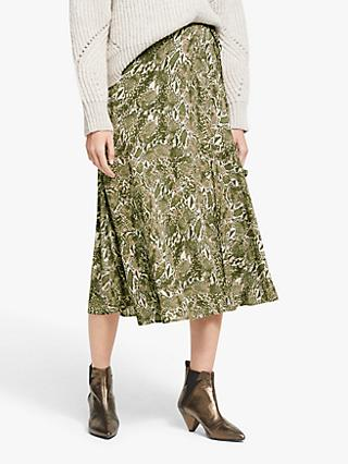AND/OR Sasha Snake Print Skirt, Green