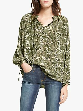 AND/OR Sabine Snake Print Blouse, Green