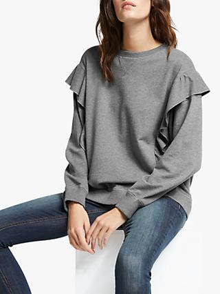 AND/OR Leanne Ruffle Sweatshirt, Charcoal