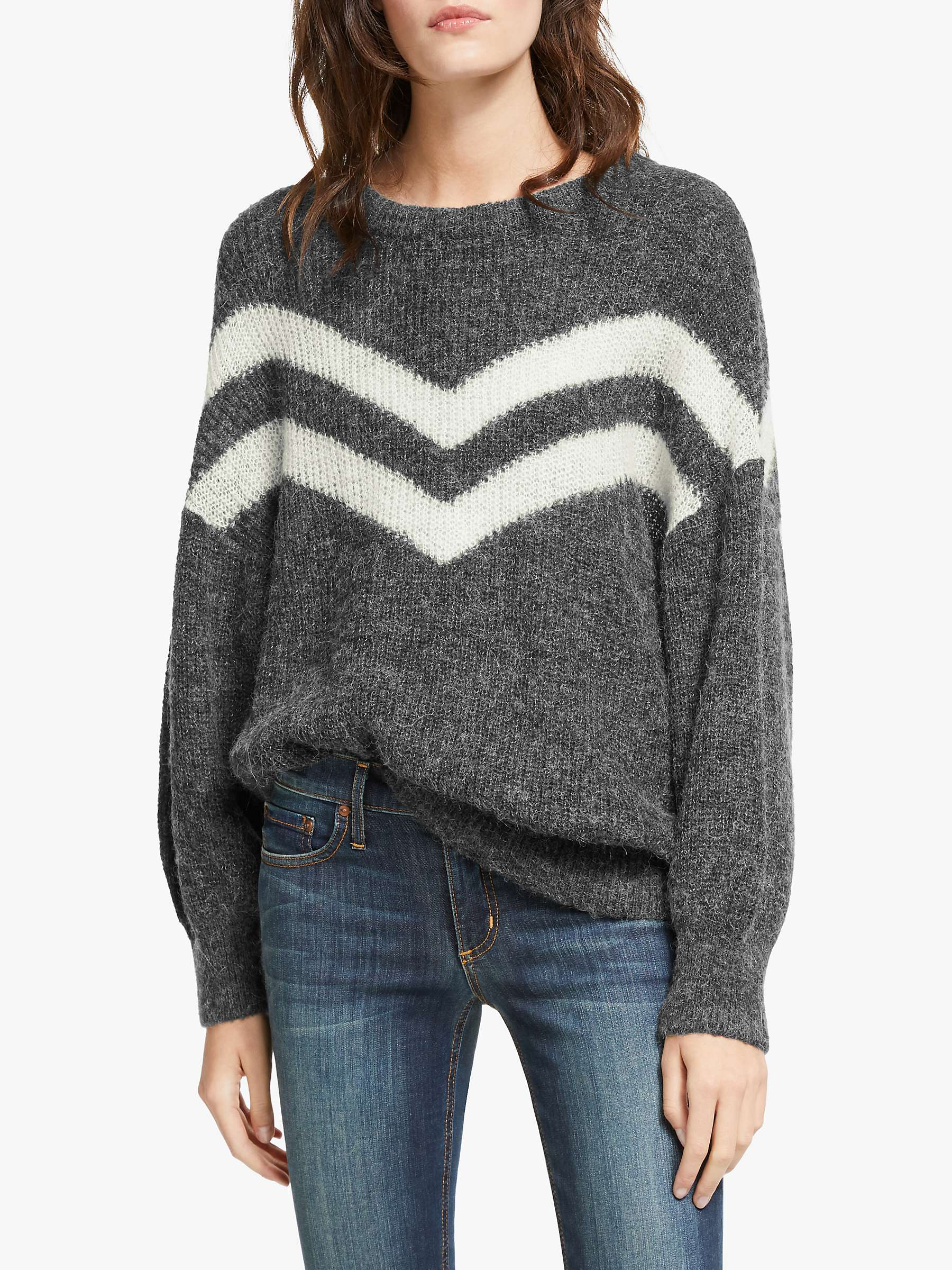 And/Or Lea V Stripe Jumper, Grey by And/Or
