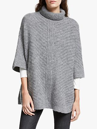 AND/OR Pheobe Roll Neck Poncho Jumper, Grey