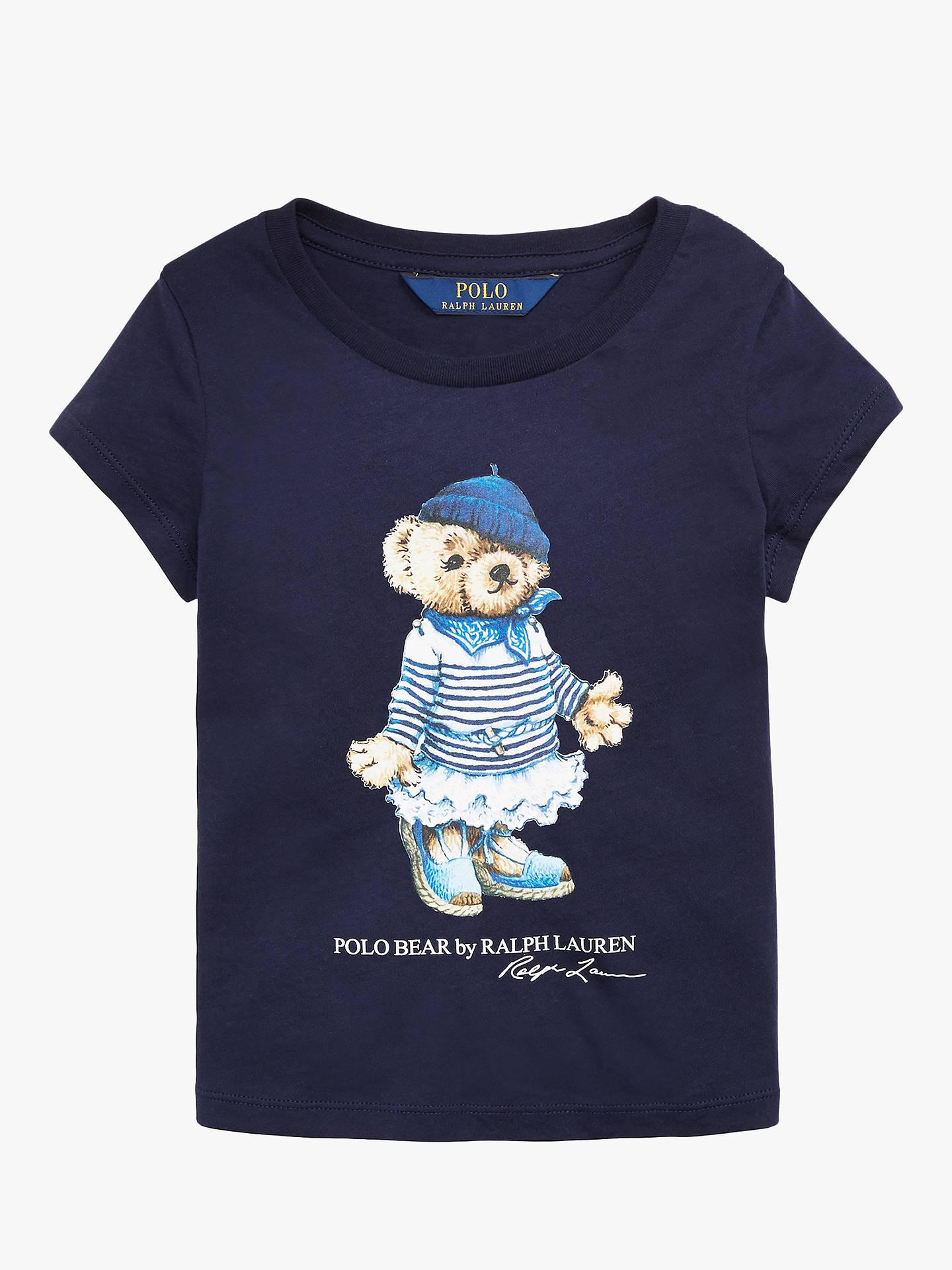 a1787fc0 Polo Ralph Lauren Girls' Bear Print T-Shirt, Blue at John Lewis ...
