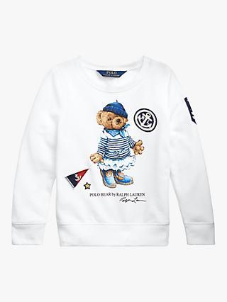 76d3b551 Polo Ralph Lauren Girls' Bear Sweatshirt, White