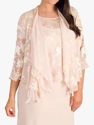 Chesca Satin Devoré & Chiffon Layered Shrug, Blush
