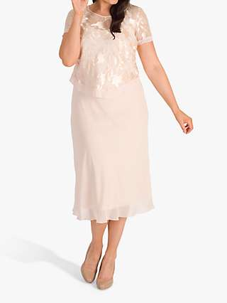 Chesca Chiffon Dress with Overtop, Blush