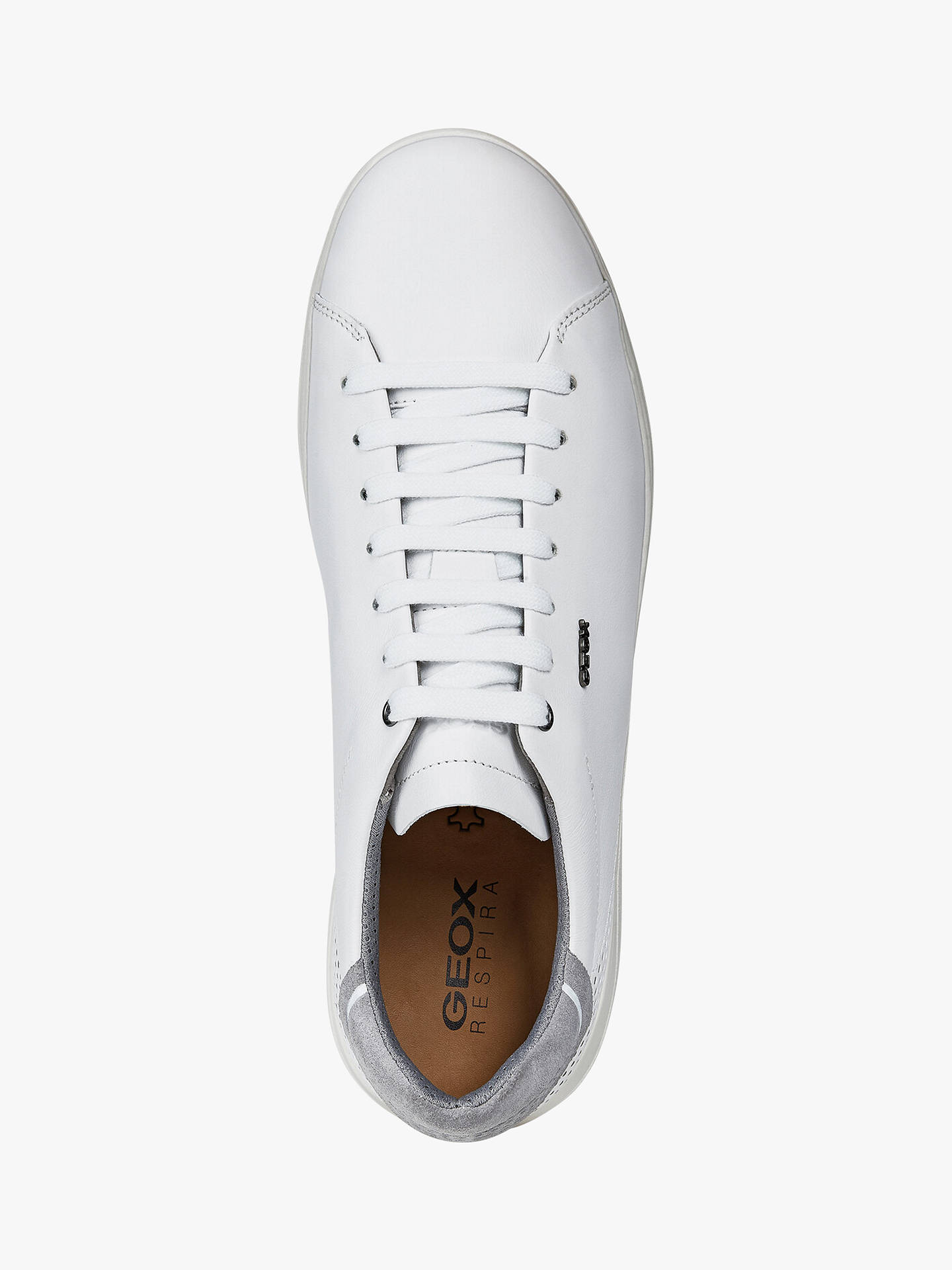 Buy Geox Kennet Leather Trainers, White, 7 Online at johnlewis.com