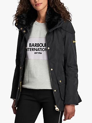 Barbour International Bowden Belted Waterproof Jacket, Black