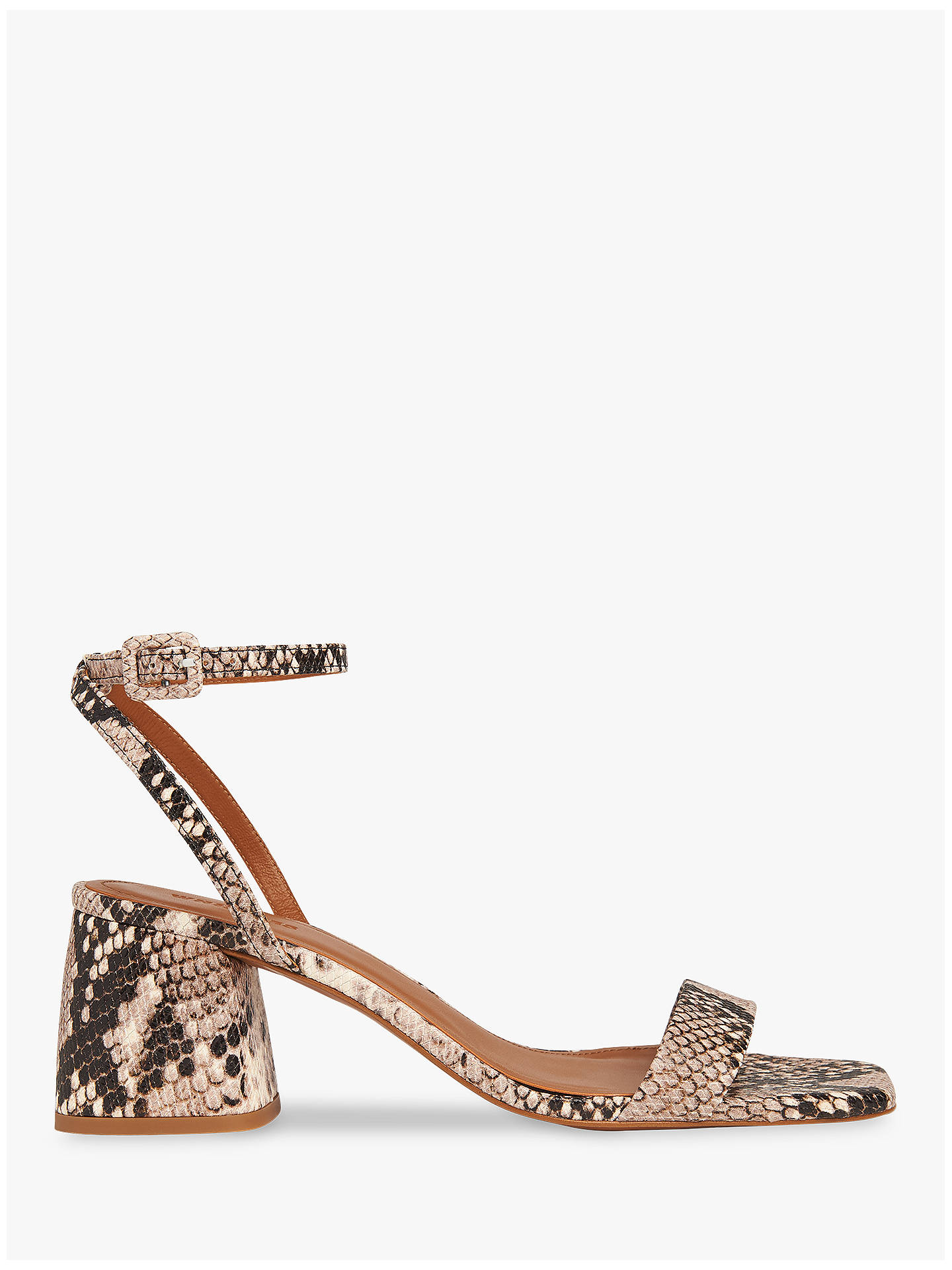 variety styles of 2019 world-wide free shipping new authentic Whistles Hale Block Heel Sandals, Snake Print at John Lewis ...