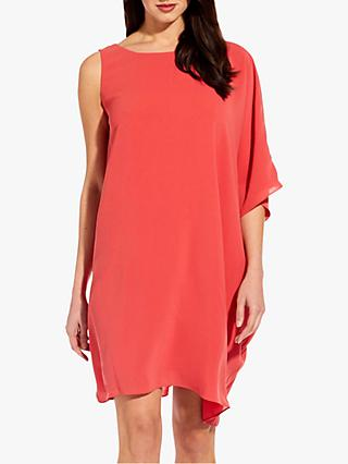 18ac9b0d1694 Adrianna Papell Gauzy Crepe One Shoulder Dress, Cruise Coral