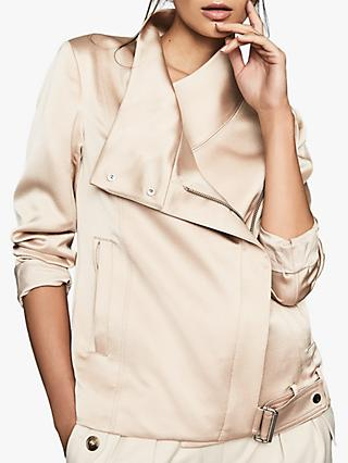 Reiss Harriet Soft Biker Jacket, Pearl