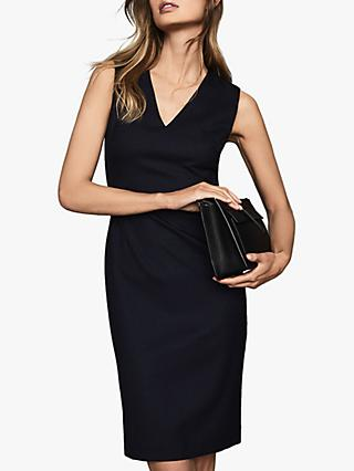 Reiss Hartley V-Neck Tailored Dress, Navy