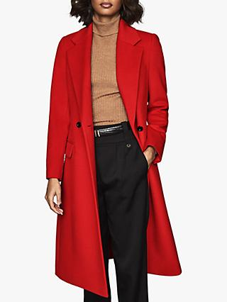 Reiss Sabel Wool Blend Slim Overcoat, Red